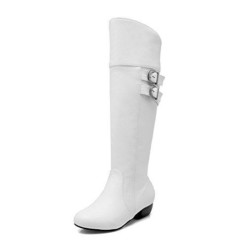 geschlossene Runde in PU mit festem Zehe Damen Weiß hohem und Absatz Stiefel AgooLar H5WzEPw