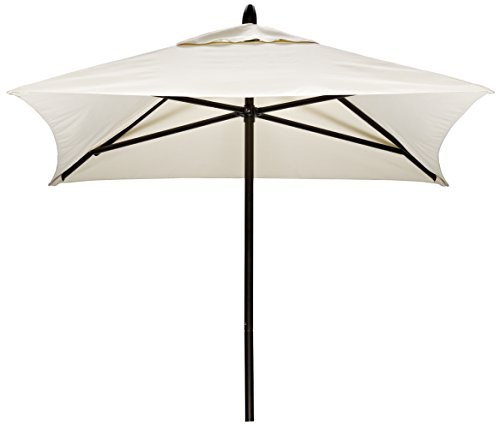 Telescope Casual Furniture Commercial Outdoor Market 6' Square Umbrella, Textured Beachwood Frame, Stucco (6 Foot Square Patio Umbrella)