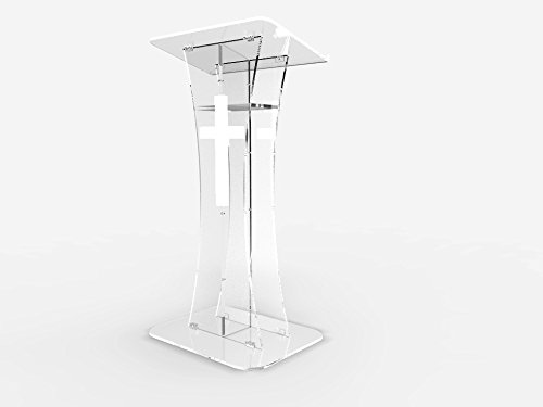 Fixture Displays Plexiglass Acrylic Podium Clear Lectern Church Pulpit With Cross decor 1803-311NEW+1803CROSS