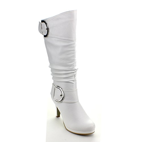Top Moda Womens Page-22 Knee High Round Toe Buckle Slouched Low Heel Boots White