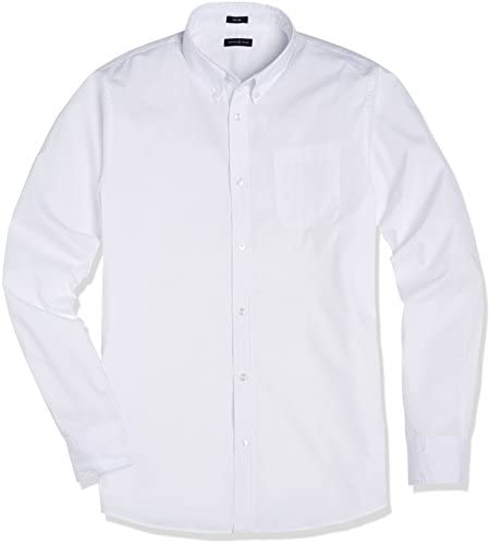 Crafted Collar Men's Slim Fit Button-Down Collar Solid Business Casual Shirt