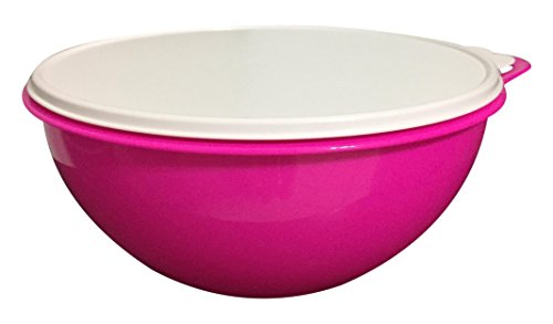 (Tupperware 32 Cup Thatsa Bowl in Electric Hot Pink with Snow Seal, White)