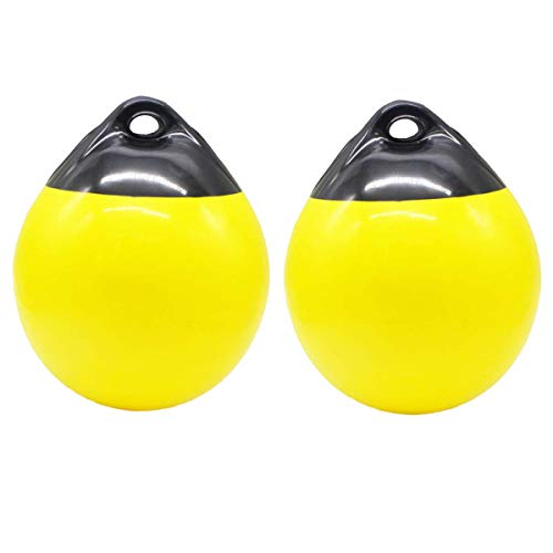 (X-Haibei Pair of Boat Fender Ball Round Anchor Buoy | Dock Bumper Ball Inflatable Vinyl A-Series Shield Protection Marine Mooring Buoy(Yellow, A29(D11.8H13.8 INCH)) (Renewed) )