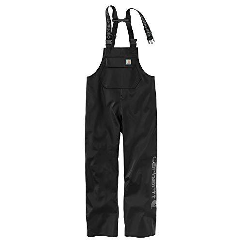 Rain Bib Pants - Carhartt Men's Midweight Waterproof Rain Storm Bib Overalls, Black 2X-Large