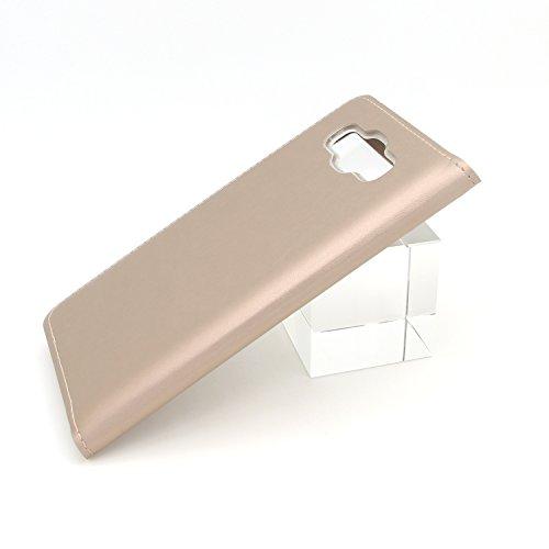 Ambaiyi Flip Funda de Cuero con Ventana Piel con Tape Carcasa para Samsung Galaxy J5 2016 J510FN , Dorado