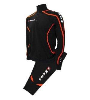 Zeus Herren Sportanzug Trainingsanzüge Running Laufen Training Sport Set Trikot Shirt Shorts Hosen TUTA VIKY SCHWARZ ORANGE (M)