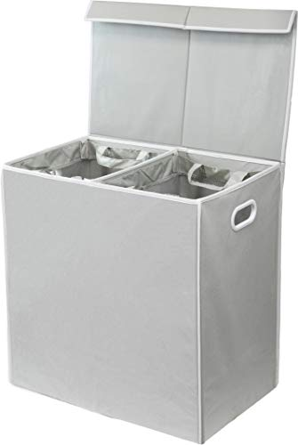 Simplehouseware Double Laundry Hamper with Lid and Removable Laundry Bags, Grey (Hamper White)