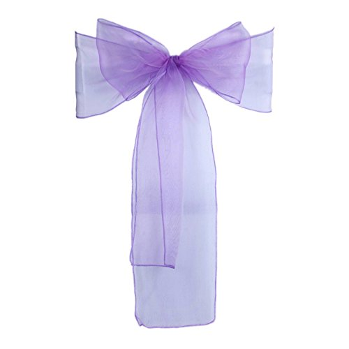 Vlovelife Lavender Organza Chair Sash Bow Tie Ribbon Wedding Party Baby Shower Cover Banquet Decor 108inch Pack Of 50 ()