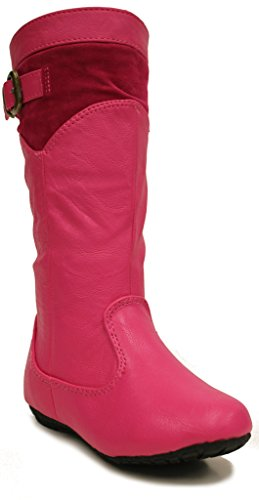 Tina-Jr Mid Calf Riding Boots,Hot Pink,9 (Dark Pink Leather Footwear)