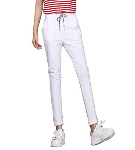 Pantaloni A Matita Lunga Eleganti Autunno Matita Vita Elastica Coulisse Slim Fit Leggins Colori Solidi Fashion Pants Tempo Libero Pantaloni Damigella Bianco