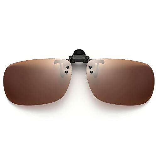 (SUNINC Clip On Sunglasses Over Prescription Glasses Polarized Lens Flip Up Shades Driving Sunglasses for Men Women Brown Lens Medium Size)