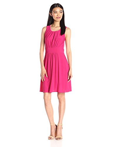 Shirred Short Dress Cocktail Dress - Star Vixen Women's Sleeveless Banded Skater Waist Bodice and Shirred Skirt Short Ity Dress, Fuchsia Large
