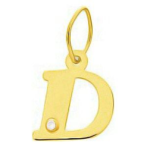 So Chic Bijoux © Pendentif Lettre D Initiale Alphabet Diamant Blanc Or Jaune 750/000 (18 carats)