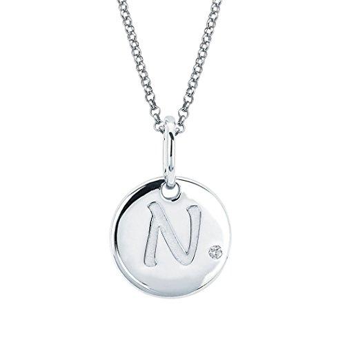 Little Diva Diamonds Sterling Silver Diamond Accent Disc 'N' Initial Pendant Necklace