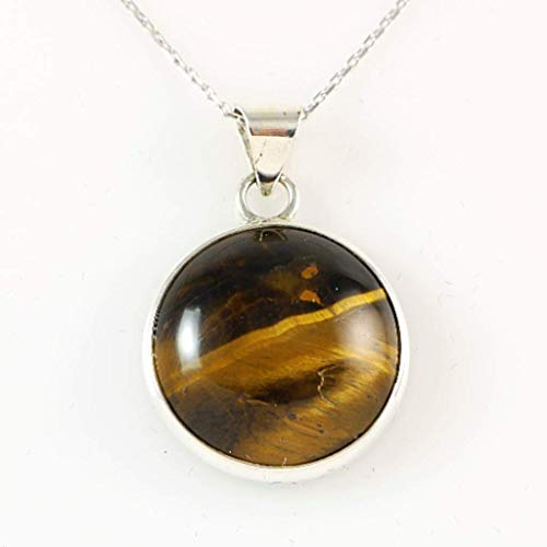 Sterling Silver Natural Brown Tiger Eye Totally Handcrafted Round Pendant Necklace 16+2