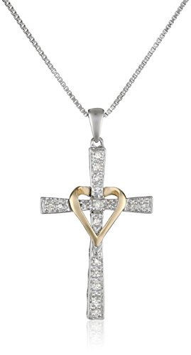 Sterling Silver and 14k Yellow Gold Diamond Cross and Heart Pendant Necklace, 18
