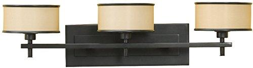 Feiss VS13703-DBZ Casual Luxury Fabric Shade Wall Vanity Bath Lighting, Bronze, 3-Light (26