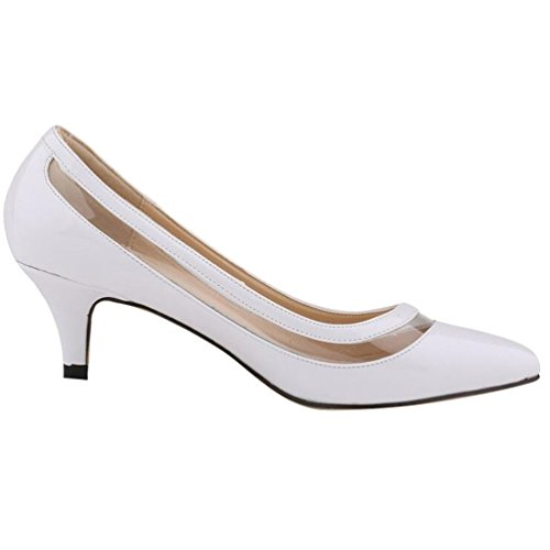 Ouvertes Chaussures WanYang Toe Pointed Blanc Femme Vernies Elégants Heel Pointu Stiletto Bout Pumps nrqr8fA0w