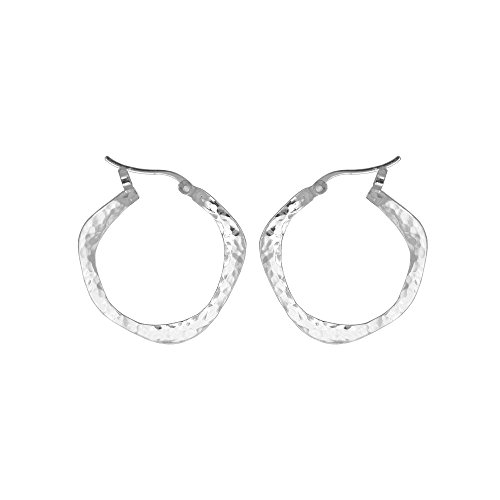 Boma Jewelry Sterling Silver Organic Hammered Texture Snap Down Hoop Earrings