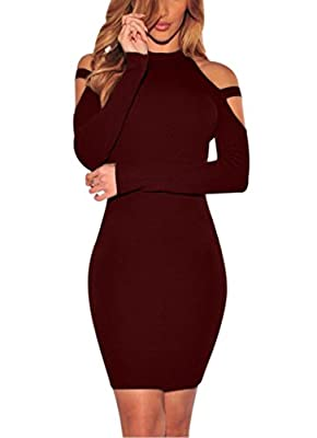 Carprinass Womens Long Sleeve Sexy Off Shoulder Bodycon Bandage Club Dresses