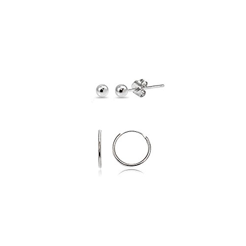 2 Pairs Sterling Silver 10mm Endless Hoops and 2mm Ball Bead Stud Unisex Cartilage Earrings ()