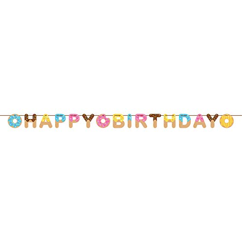 Creative Converting 324234 Donut Happy Birthday Ribbon Banner Party Supplies, 6 x 8.5, Multicolor