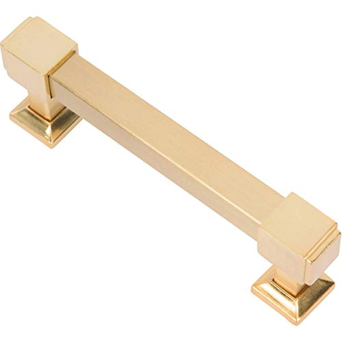 Southern Hills Brushed Brass Drawer Pulls - 4 Inch Screw Spacing - (Pack of 5 Handles) Satin Brass Kitchen Cabinet Pulls SHKM010-BRS-5
