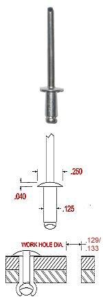 Pack of 500 Aluminum Blind Rivet with Aluminum Mandrel Open END Rivet Dome Head 1//8 Diameter x .0.31-.125 Grip Range