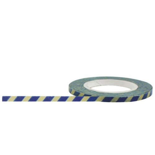 Ivory Stripes May Arts - Little B 100005 Decorative Paper Tape, Blue and Antique Stripes