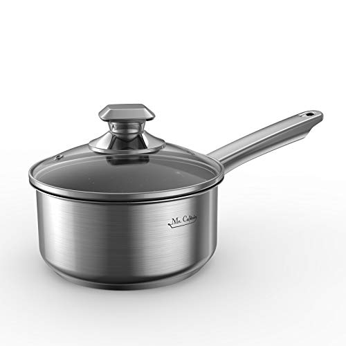 Mr Captain Nonstick Saucepan With Lid 2 Quart, 18/10 Stainless Steel Sauce Pan, Stone-Derived Non-Stick Granite Coating…