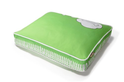 P.L.A.Y. Rectangular Bed with Eco-Friendly Filler and 100-Percent Cotton Cover, Green/What Dogs Dream (Eco Friendly Dog Beds)