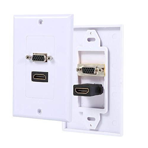 Multimedia Wall Plates Socket Panel, VBESTLIFE Composite HDMI VGA Female AV 2-in-1 Audio Video Adapter Converters Jack Wiring Plug -