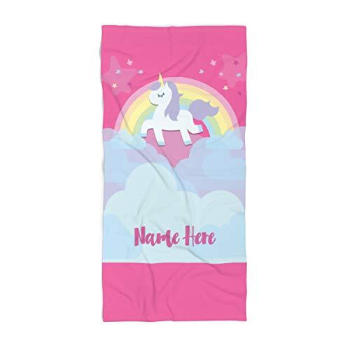 (Personalized Unicorn Rainbow Cloud Polycotton Towel for Kids - Custom Girls Unicorn Theme Towels for The Swim Beach Bath Bathroom or Kitchen - Baby Adults Kid Boys Girl (Bath Towel 60