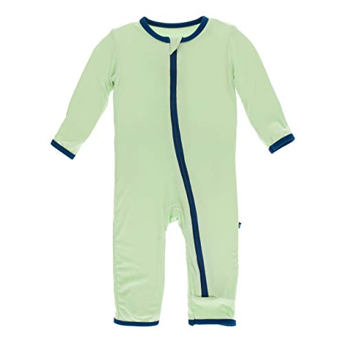 Kickee Pants Little Boys Solid Coverall with Zipper - Pistachio with Navy, 6-9 Months ()