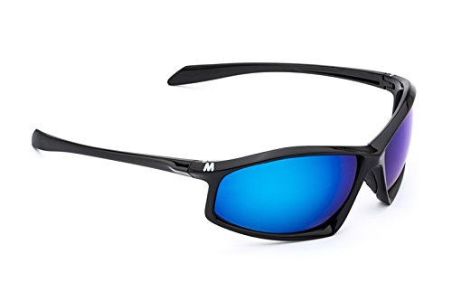 MORR ARRISTOTLE Z65 Sport Sunglasses with Mirrored Lenses for Mountain Biking, Cycling, Motorcycle, Shooting, Climbing (Blue Mirror Lens / Black - Male Face Narrow
