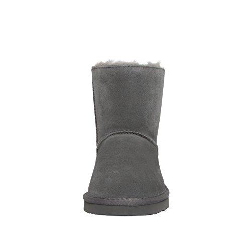 SKUTARI Luxuriöse Nieten Biker Bow Schlupfstiefel Warm Gefüttert Fell Wildleder Stiefel Boots Grey/5027