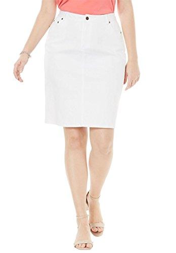 's Plus Size True Fit Denim Short Skirt White Denim,12 (Denim London Skirt)
