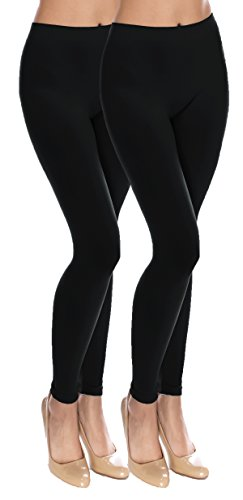CircleSquare Fashion Basic Solid Full Length Footless Tights Leggings Pants (Plus Size (Size 14-20), LG06 Black2)