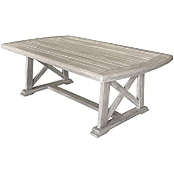 Attractive Courtyard Casual Driftwood Gray Teak Surf Side Outdoor Coffee Table