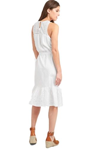 - GAP Women's Eyelet Sleeveless Tier White Tie Dress - Size Small