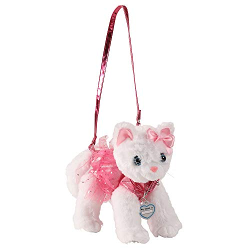 e40fb18e247b Girls Plush Handbag- White Cat with Pink Disco Dots and