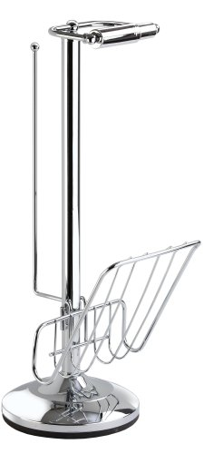 Better Living Products Toilet Caddy Tissue Dispenser with Magazine Rack, Chrome (Chrome Toilet Paper Caddy)