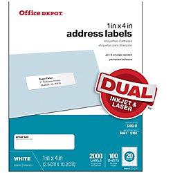 Office Depot White Inkjet/Laser Address Labels, 1in. x 4in., Box Of 2,000, 505-O004-0017