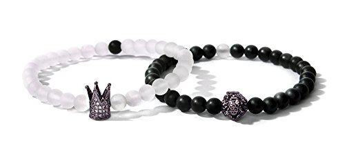 White Obsidian - Bella.Vida Women Mens Bracelet 6mm Natural Healing Matte White Crystal and Black Onyx Bead Elastic Double Bracelet With Crown and Lion(Avatar of King)
