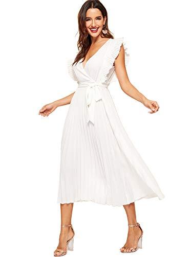 Milumia Women Wrap V Neck Ruffles Sleeveless Sundress Fit Flare Dresses White -
