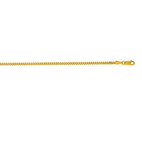 14k Gourmette Chain (14K Yellow Gold 2.0mm Diamond Cut Gourmette Chain with Lobster Clasp)