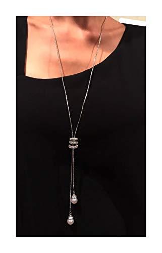 Nataliya Woman's Adjustable Crystal Pearl Jewelry Tassel Pendant Long Chain Necklace