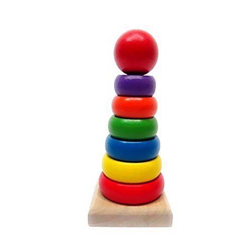 - BUYITNOW Wooden Geometric Stacker Rainbow Rings Color Recognition Education Toys