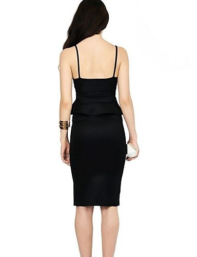 PU&PU Robe Aux femmes Moulante Sexy / Street Chic,Couleur Pleine V Profond Midi Coton / Polyester , black-m , black-m