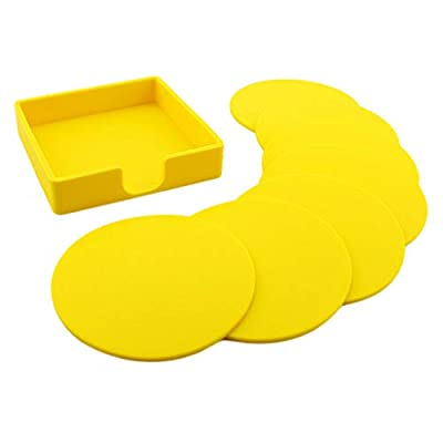 7pcs Silicone Simple Slice Coasters for Hot Beverages and Cold Drinks Bar Table (Color - Yellow)